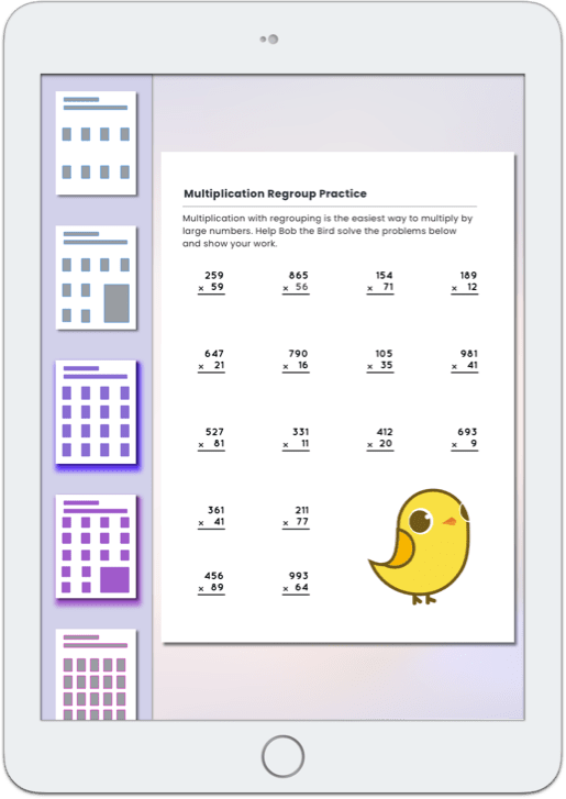 iPad view of creating a worksheet